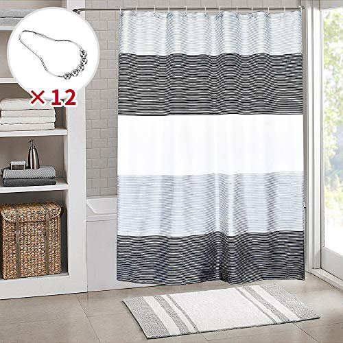 SHE'S HOME Black White Stripes Shower Curtains, Waterproof Fabric Cloth for Man Bathroom Bathtubs with Metal Rings,72' W×72' L