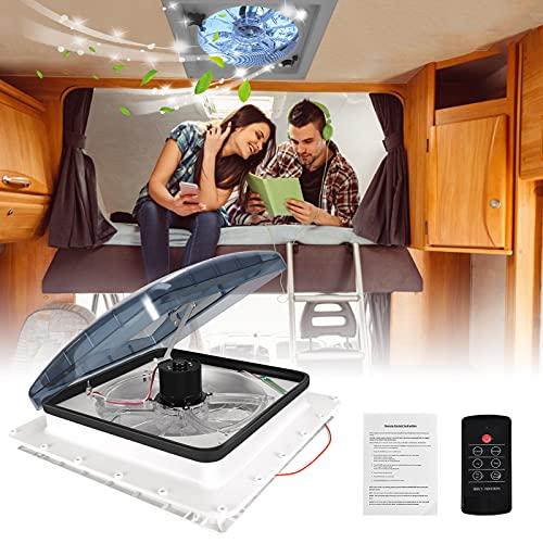 Kacsoo Ventola di Ventilazione per Camper, 12V Ventola di Ventilazione 40 * 40cm Tetto apribile per camper con telecomando e sensore pioggia, Ventola bidirezionale a 3 velocità Ascensore elettrico