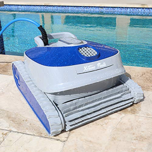 XtremepowerUS 75065 Robotic Cleanertra-Efficient Dual Scrubbing Brushes w/Control Box Extra-Large Filter Basket, Swimming Pools up to 50 Feet, Blue/Grey