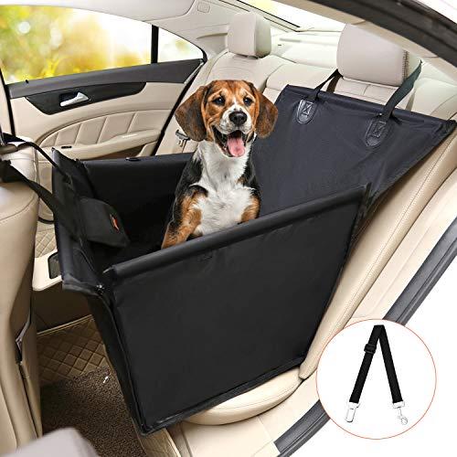 Kohree Housses de siège de voiture pour Chien, 2 en 1 Housse Protection de Siège d'arrière avec Ceinture de Sécurité pour Chien, Transport Chien en Tissu Oxford, Pliable et Imperméable