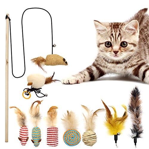 Interaktives Spielzeug für Sommer-Spider-Katzen, Katzenspielzeug mit Federn, Sisal, für kleine und große Haustiere, Farben variieren (9-teilig)