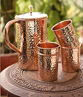 White Whale Hammered Pure Copper Luxury Jug with 4 glasses, capacity 2100 ml