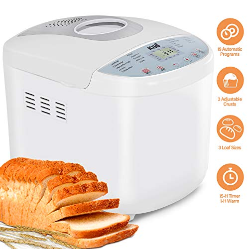 KANGBAISHI Bread Maker - Bread Machine Automatic Bread Maker with 3 Loaf Sizes(1/1.5/2LB), 15-Hour Delay Timer, 19 Programs, 3 Crust Colors, Programmable Bread Maker with FDA Material(BPA free)