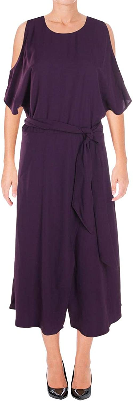 Lauren Ralph Lauren Womens Cold Shoulder Midi Cocktail Dress