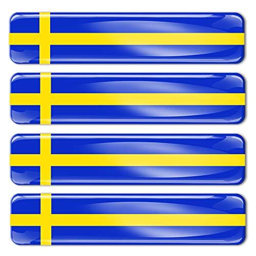 Biomar Labs® 4 x Aufkleber 3D Gel Silikon Stickers Sweden Schweden Schwedische Flagge Fahne Flag Autoaufkleber F 22