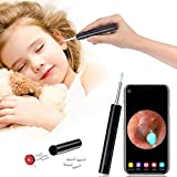 Earwax Removal Otoscope, Wireless Ear Clean Endoscope Earwax Removal Tools with WiFi HD Inspection Waterproof Ear Camera, Earwax Remover Kit Compatible with All iPhone iOS Android and Tablet(Black)