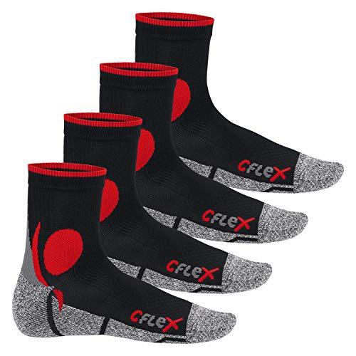 CFLEX Damen und Herren Running Funktions-Socken (4 Paar) Laufsocken - Schwarz-Rot 35-38