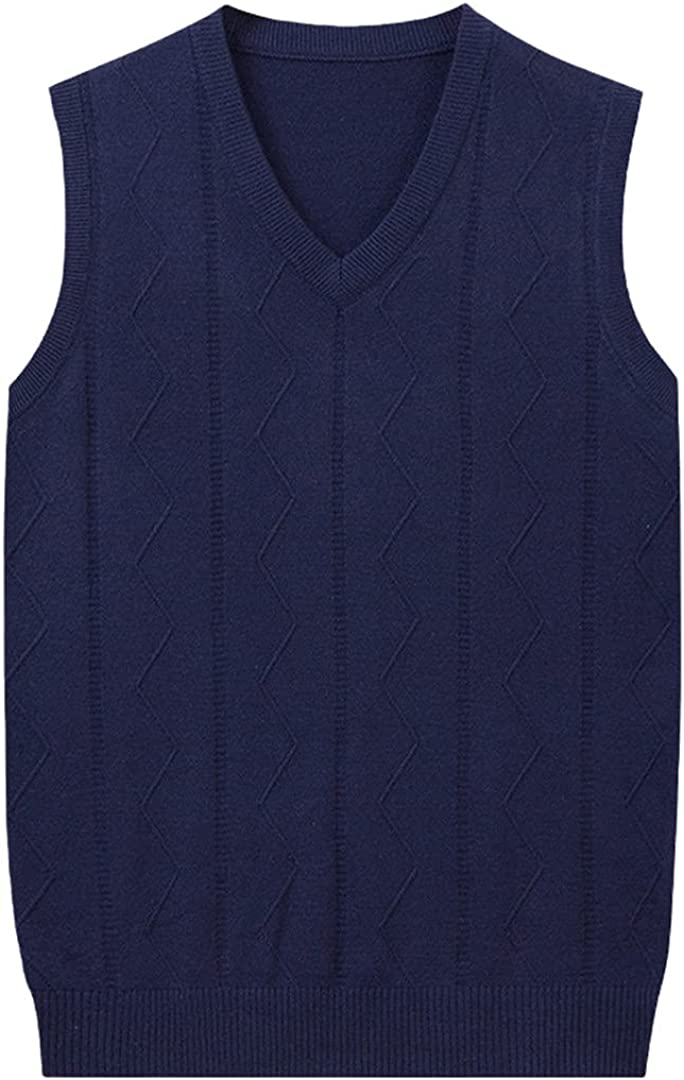 GYSAFJ Men Vest Autumn and Winter Wool Vest V-Neck Sweater Waistcoat Sleeveless Sweater