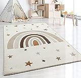 the carpet Beat Kids Moderner Weicher Kinderteppich, Weicher Flor, Pflegeleicht, Farbecht, Regenbogen Muster, Creme, 80 x 150 cm