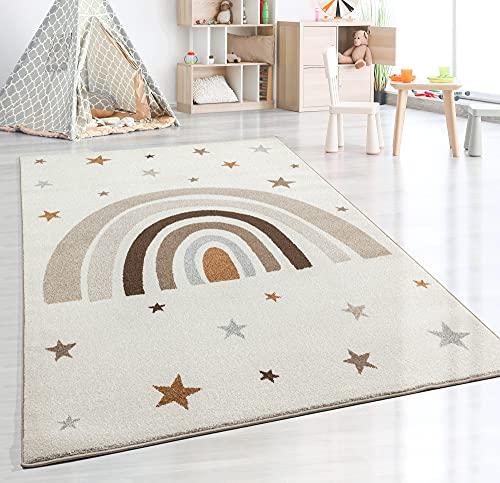 the carpet Beat Kids Moderner Weicher Kinderteppich, Weicher Flor, Pflegeleicht, Farbecht, Regenbogen Muster, Creme, 160 x 220 cm