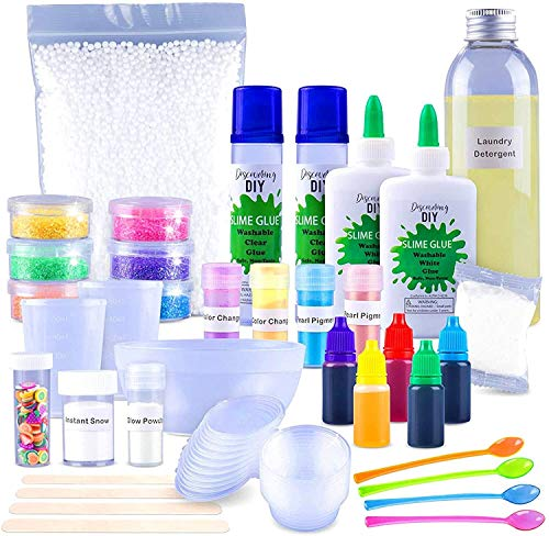 Discovering DIY Slime Kit for Girls and Boys - Slime Kits - All Inclusive Slime Making Kit with Glow in The Dark Powder - Glitter, Slime Supplies Kit