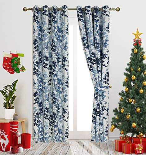 "Leaves Design Print Curtains Contemporary Botanik Floral Style Blackout Curtains for Living Room. Window Treatment for Bedroom Grommet Top 54"" W X 84"" L 1Pair Blue Decoretive Curtain by GD"