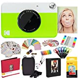 Kodak Printomatic Instant Camera (Green) All-in-Bundle + Zink Paper (20 Sheets) + Deluxe Case + Photo Album + 7 Unique Sticker Sets + Markers + Scissors + Border Stickers and So Much More