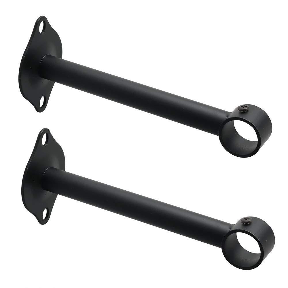 Coshar Closet Rod Brackets 0.87 Stainless Steel Matte Black Flange Rod Support Holders,4Pcs