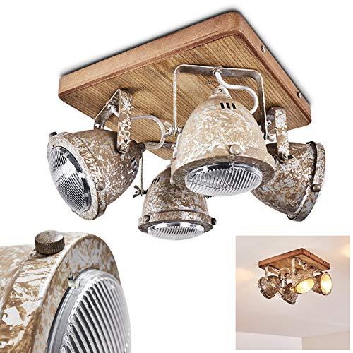 Plafondlamp Bangkok, plafondlamp van metaal/hout/glas in zinken/bruin, 4 vlammen, met verstelbare spots, 4 x GU10 fitting max. 10 Watt, spot in retro/vintage uitvoering, LED-lampen geschikt
