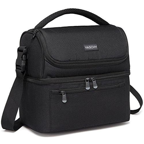 VASCHY Kühltasche, Isolierte Lunch Tasche 14 Dosen Lunchpaket Große Kapazität Auslaufsicher Wasserabweisend Thermal Picknicktaschen mit Doppel-Fächern für Herren Damen Schwarz