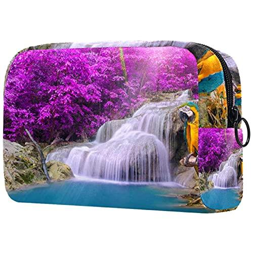 Bolsa Maquillaje Almacenamiento organización Artículos tocador cosméticos Estuche portátil Parrot Cascada Tropical para Viajes Aire Libre