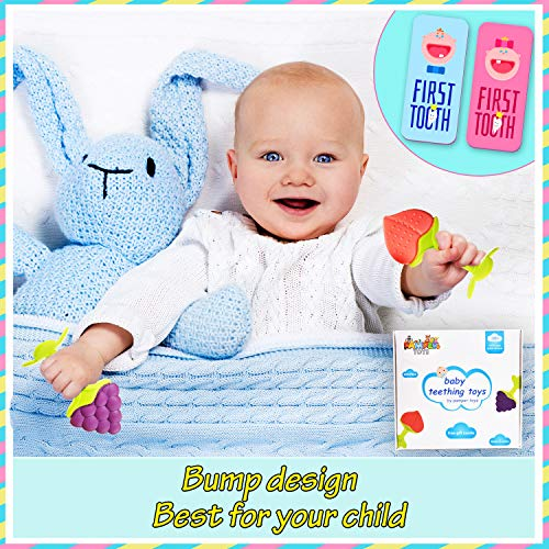 Pamper Toys Teethers for babies 0-6 months, 5 Pack Baby Teething Toys, Fruit Silicone teethers for Baby with Gift Baby Toothbrush and Gift Box, BPA Free, Soothing Sensory Gum Relief for Infants