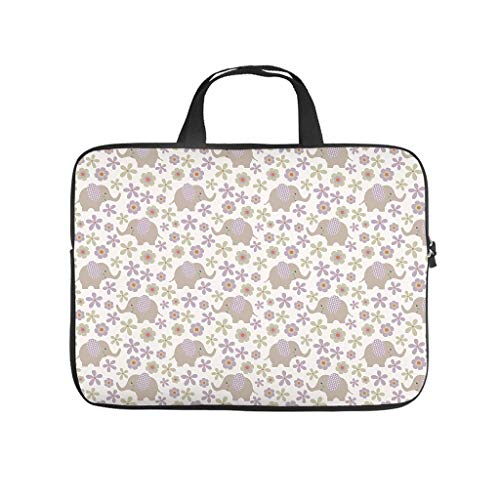 Elephant Flowers Plant Laptop Bag Waterproof Laptop Protective Bag Pattern Notebook Bag for University Work Business