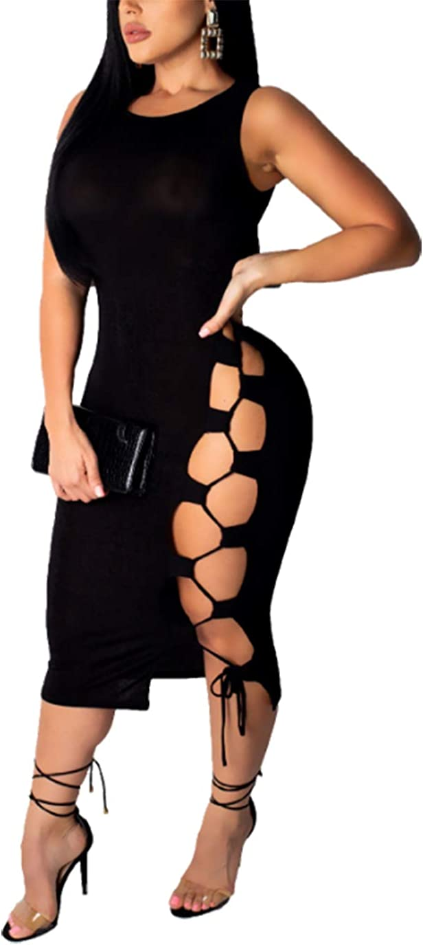 ECHOINE Women Hollow Out Dresses - Sexy Sleeveless Lace Up Bodycon Bandage Club Dress