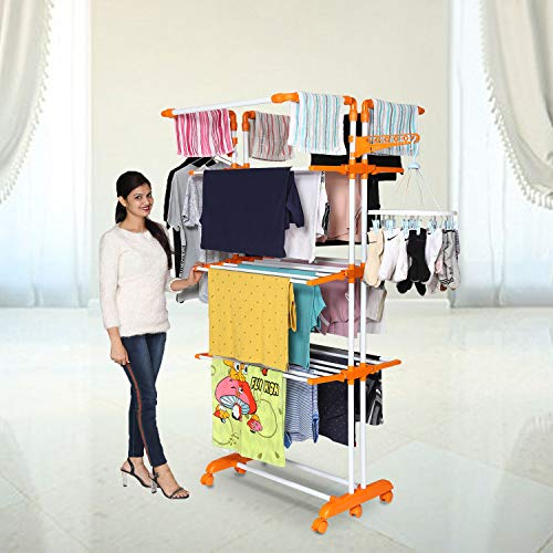 Happer Premium Double Supported 4 Layer Cloth Drying Stand with Thread Lock Mechanism and Breaking Wheels
