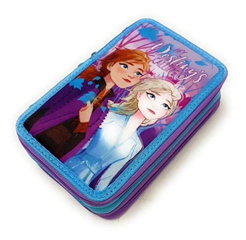 Dimagraf - Frozen - Astuccio Scuola 3 Zip Frozen - Anna ED Elsa - Completo di 44 Pezzi - Prodotto Ufficiale Disney (Modello A)