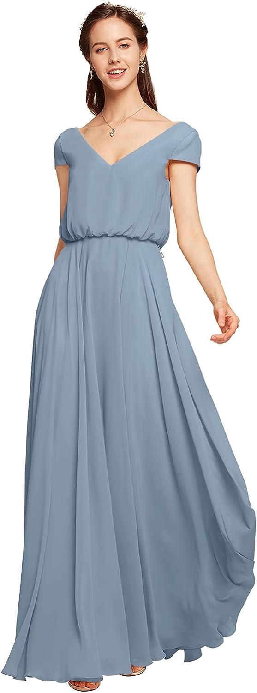 ALICEPUB V-Neck Bridesmaid Dresses with Sleeves Chiffon Long Prom Evening Formal Dress
