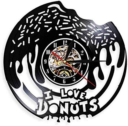 GVSPMOND Reloj de Pared I Love Donuts Classic CD Reloj de Cuarzo Arte de Pared 3D Diseño Moderno Oficina Bar Sala de Estar Cocina Decoración del hogar
