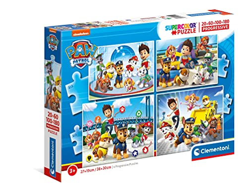 Clementoni 21412 Paw Patrol Puzzles para niños - 20+60+100+180 Piezas, Edades 3 años más, Multicolor