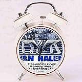 目覚まし時計 - ヴァン・ヘイレン・スチームロック・フィーバー後期70&rsquosショーの大音量目覚まし時計 バックライト 静か 連続秒針 スヌーズ 電池式 置き時計 卓上時計 直径約4インチ(ホワイト)