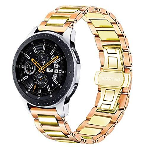 DEALELE Correa compatible con Samsung Gear S3 Frontier/Classic/Galaxy Watch 3 45 mm/Galaxy Watch 46 mm/Huawei GT2 46 mm, 22 mm acero inoxidable metal pulsera de repuesto oro rosa