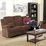 Chelsea Recliner Sofa with 2 Stainless Steal Cup Holders, 2 Manual Easy-to-Reach Handles, 2 USB Ports, Middle Fold Down Cushion with Chenille Plush Fabric (Brown)