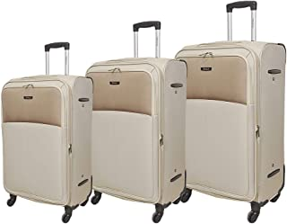 Track Luggage Trolley Bags Set, 3 Pcs With 4 Wheels - Beige
