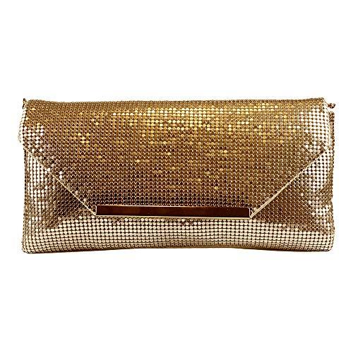 Eferri, Bolso de noche fiesta Malla para Mujer, Oro, 26x13x1 cm