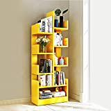 Kurtzy MDF Wood DIY Book Storage Display Rack Shelf Organizer (47 X 21 X 131 cm) Yellow