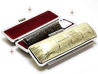 「ラメ黒水牛印鑑13.5mm×60mmニューカラークロコケース(ゴールド)付き」 縦彫り 篆書体
