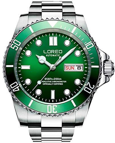 Relógio masculino LOREO prata de aço inoxidável safira vidro azul bisel rotativo automático data semana, Verde