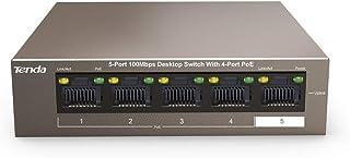 Tenda 5-Port Fast Ethernet Poe+ 58W Desktop Switch, 10/100Mbps, Brown (TEF1105P)