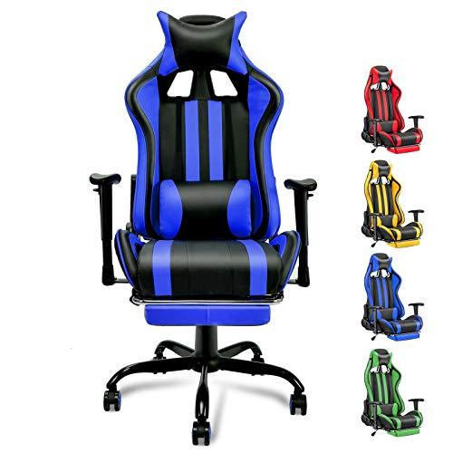 Soontrans Gaming Stuhl Kunstleder Zocker Stuhl Ergonomischer Chefsessel mit Fußstützen, Höhenverstellbare Armlehnen, 180° Neigbare Rücklehne, für Große Mensche (Blau-Schwarz)