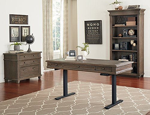 Martin Furniture Complete Sit/Stand Desk, Weathered Dove