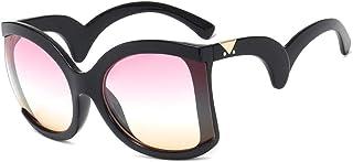 DovSnnx - DovSnnx Gafas De Sol Unisex para Hombres Y Mujers Polarizadas Protección 100% Uv400 Clásico Vintage Moda Sunglasses Varillas Onduladas Montura Negra Lentes Rosas Y Amarillas