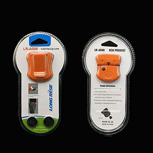 Neuf réglable à clipser 5 LED Head Cap Hat lumière Pêche lampe frontale lampe de poche sans batterie pour extérieur Pêche Camping Chasse Orange Cap lumière