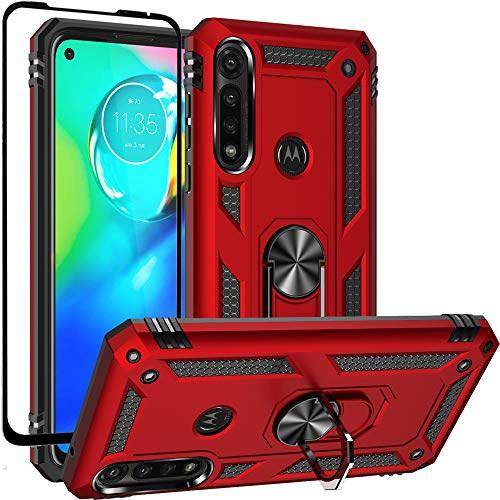 Dretal Moto G Power Case with Tempered Glass Screen Protector, Military Grade Shockproof Protective Case Cover with Rotating Holder Kickstand for Motorola Moto G Power 2020 (Red)