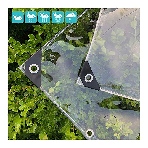 GDMING Waterproof Tarpaulin PVC Sun Protection Moisture Proof Keep Warm Transparent Covers For Outdoor Garden Roof Windscreen, Size Customized (Color : Clear, Size : 1.2x 3m)