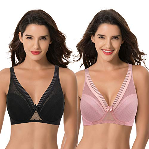 Curve Muse Women's Plus Size Unlined Minimizer Full Coverage Mesh Underwire Bra-2pack-BLACK,PINK-44DDDD