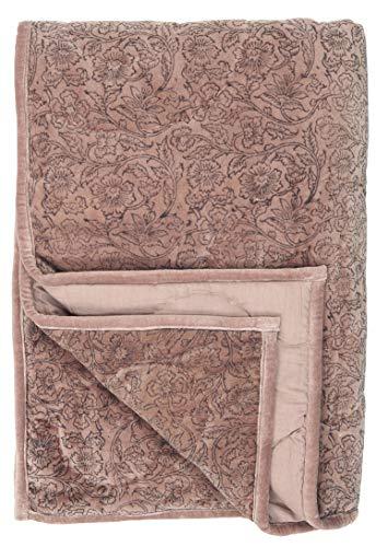 IB Laursen Quilt SAMT ROSA Aufdruck Peony Decke 130x180 Kuscheldecke Velour
