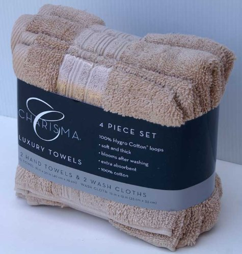 Charisma 4pk Luxury Towels Set: 2 Hand Towels & 2 Wash Cloths , Color: Linen