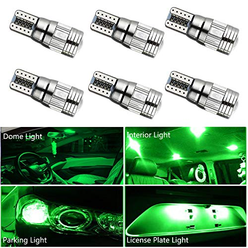 HOCOLO 6x T10 198 194 168 912 921 W5W 2825 Green Color High Power LED Bulbs For Interior Dome/Map/License Plate/Parking/Door/Trunk Lights (6pcs T10 6-SMD Canbus Error Free, Green)