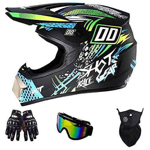 Casco De Motocross De Moda, Gafas De Seguridad Aprobadas por El Dot Guantes Protector Facial Casco Completo para Bicicleta De Montaña para Adultos Y Jóvenes A Prueba De Golpes