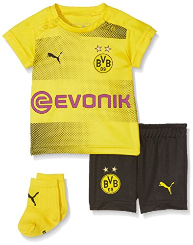 PUMA Kinder BVB Home Babykit Socks Sponsor Logo with Packaging Fußball T-Shirt, Cyber Yellow Black, 80
